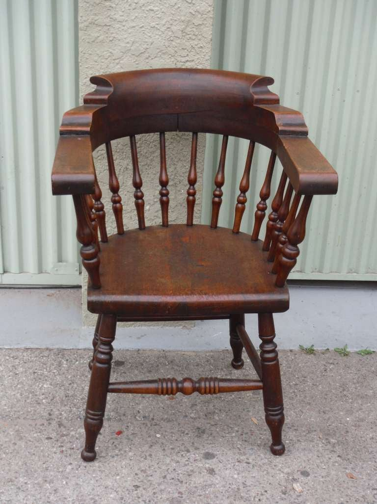 Amazing 19thc Set Of Four Firehouse Windsor Captains Chairs In Excellent  Condition For Sale In Los