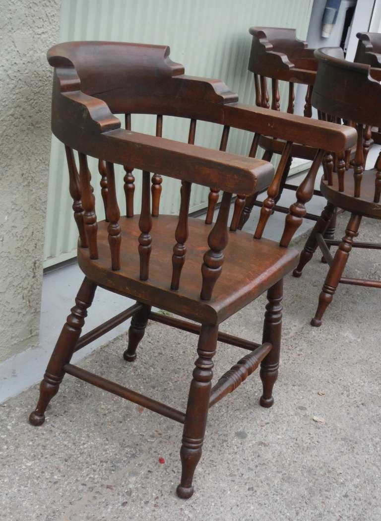 19th Century Amazing 19thc Set Of Four Firehouse Windsor Captains Chairs  For Sale