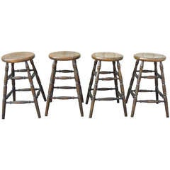 Set of Four Original Black Painted Plank Seat Bar Stools