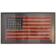 Early and Rare Hand Crochet 48 Star Framed Flag