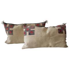 Fantastic Pair of Geometric Navajo Indian Weaving Saddle Blanket Pillows