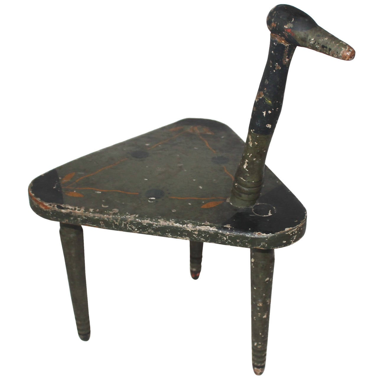 19th Century Original Painted and Carved Folk Art Chair