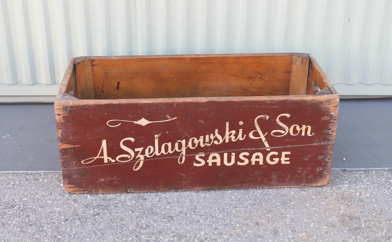 a szelagowski and son sausage advertising box for sale