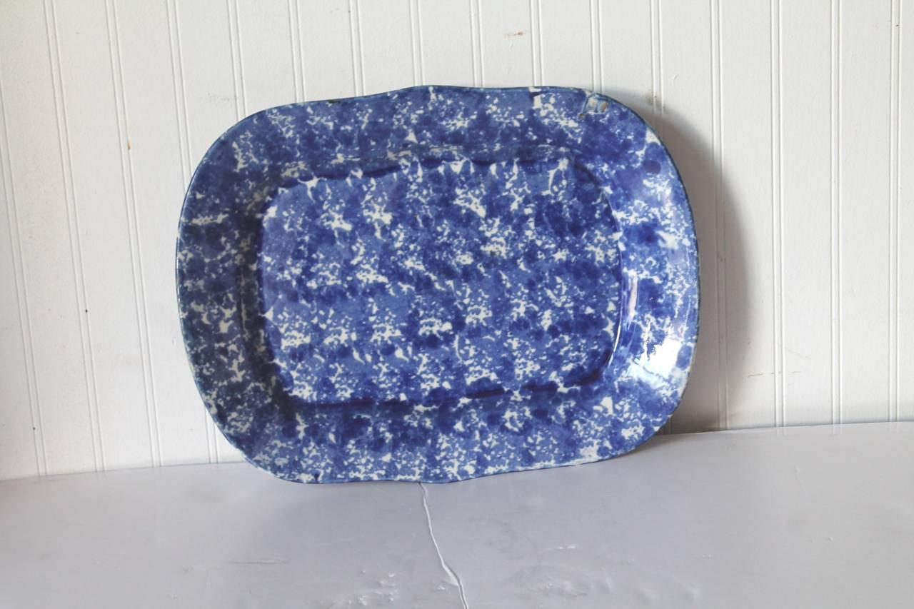 Folk Art 19th Century Monumental Sponge Ware Turkey Platter For Sale