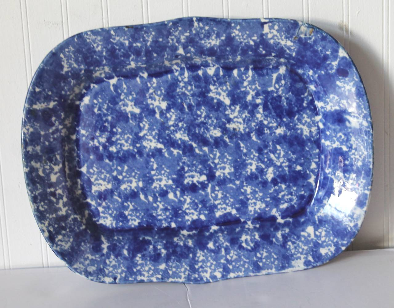American 19th Century Monumental Sponge Ware Turkey Platter For Sale