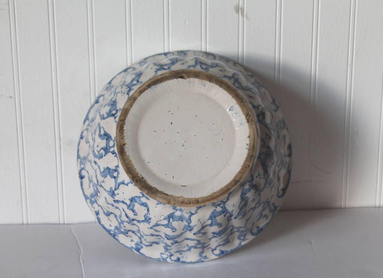 Molded 19th Century Large Sponge Ware Serving Bowl For Sale