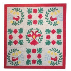 Amazing  & Rare  Mounted Pictorial Applique Crib Quilt