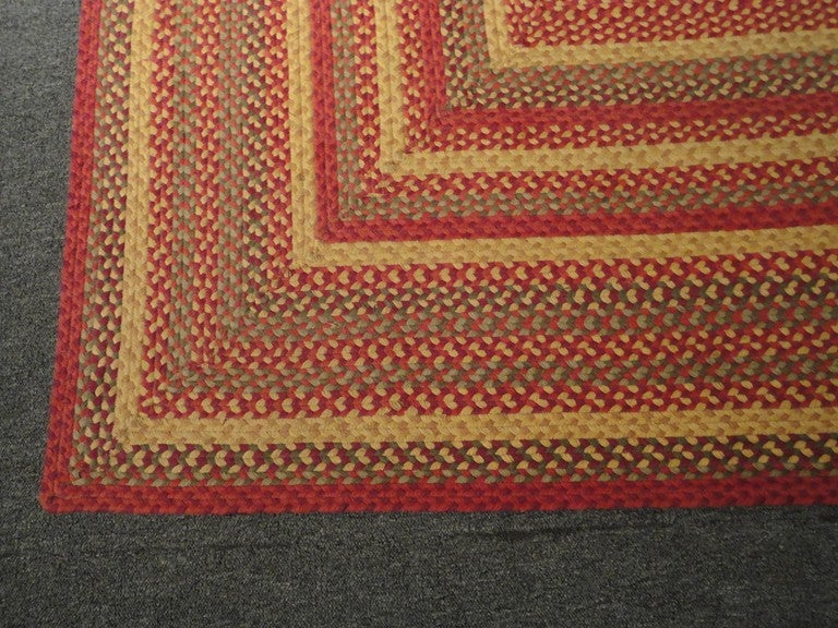 Fantastic Large Rectangular Braided Rug in Indian Sunset Colors 3
