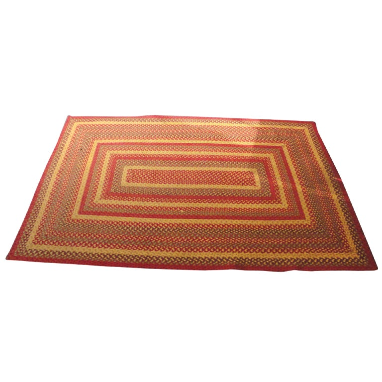 Fantastic Large Rectangular Braided Rug in Indian Sunset Colors 1