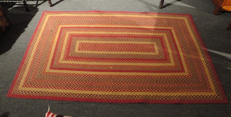Fantastic Large Rectangular Braided Rug in Indian Sunset Colors 5