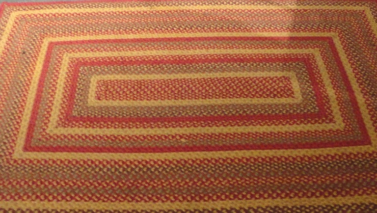 Fantastic Large Rectangular Braided Rug in Indian Sunset Colors 2