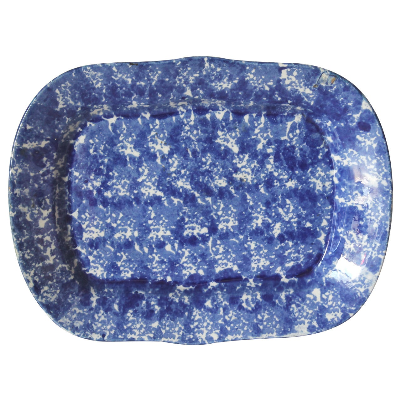 19th Century Monumental Sponge Ware Turkey Platter