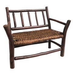 Salesman Sample Old Hickory Settee W/ Original Woven Seat