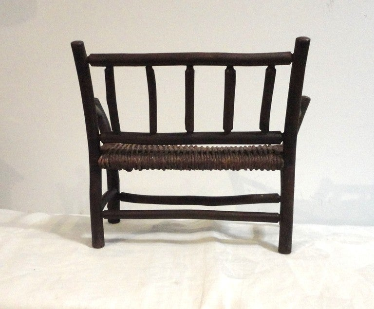 American Salesman Sample Old Hickory Settee W/ Original Woven Seat For Sale