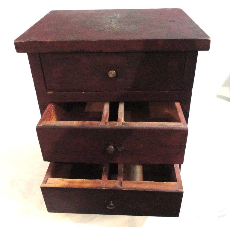 Fantastic 19thc  Original Red Mini Apothecary  Cabinet 3