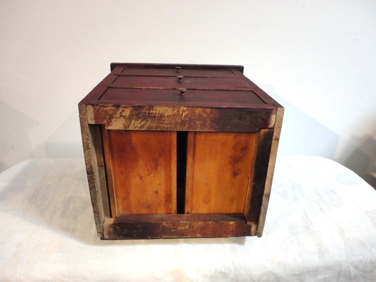 Fantastic 19thc  Original Red Mini Apothecary  Cabinet 8