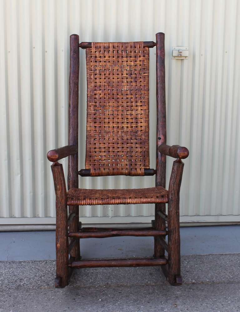 monumental old hickory high back rocker with open cane weave 3 - Old Hickory Furniture