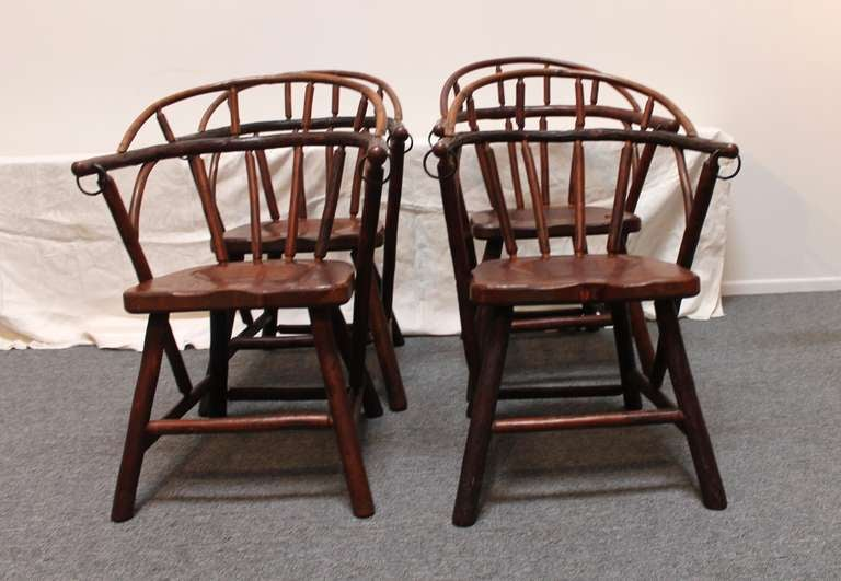 old hickory barrel based dining set with four loom back