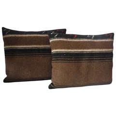 Striped Mexican Serape Pillows , Pair
