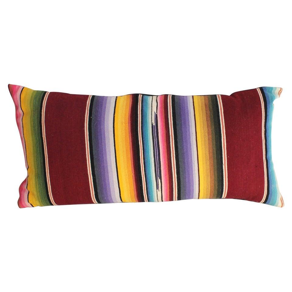 Mexican Serape Wool Bolster Pillow
