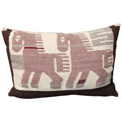 Pictorial Mexican Indian Bolster Pillow with Horses