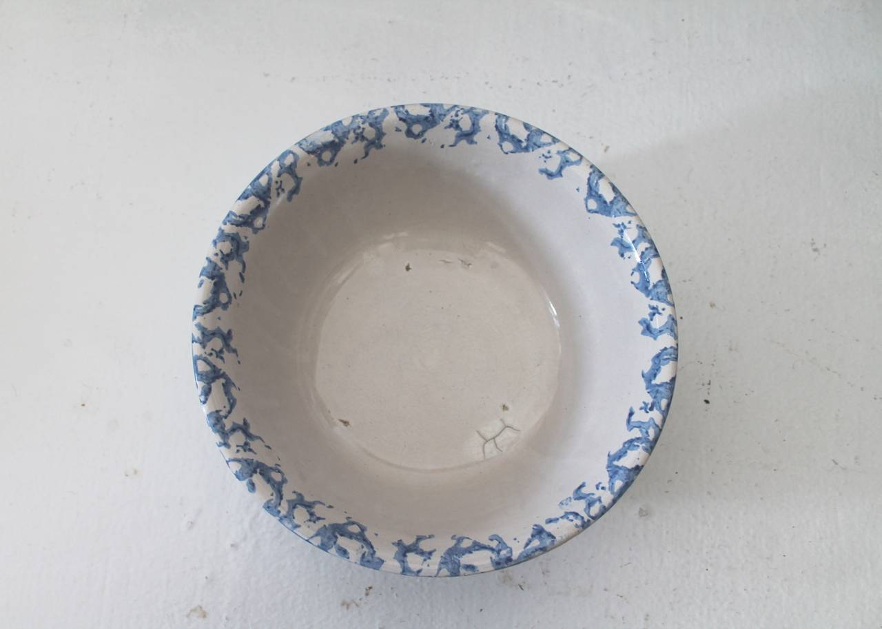 American 19th Century Sponge Ware Pottery Serving Bowl For Sale