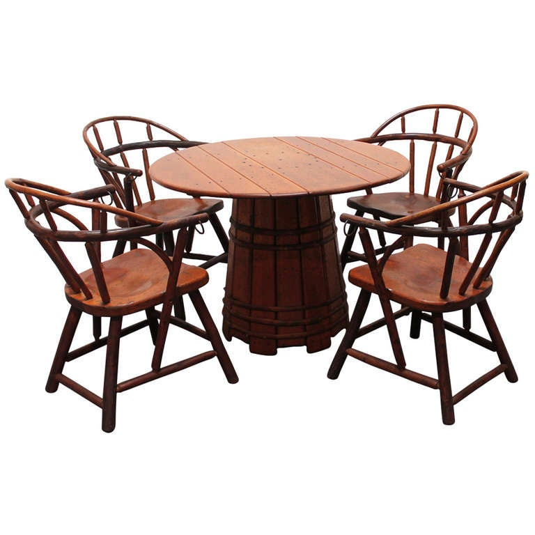 hickory barrel based dining set with four loom back chairs at 1stdibs