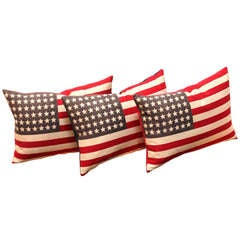48 Star Parade Flag Pillows with Linen Backing