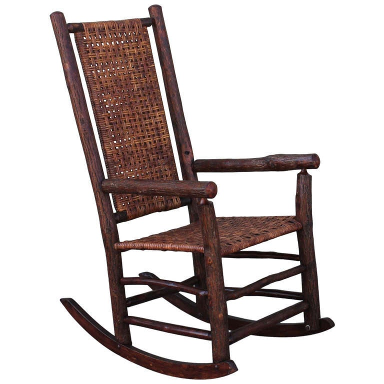 Monumental Old Hickory High Back Rocker With Open Cane Weave For