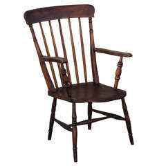 19thc English High Back Arm Chair