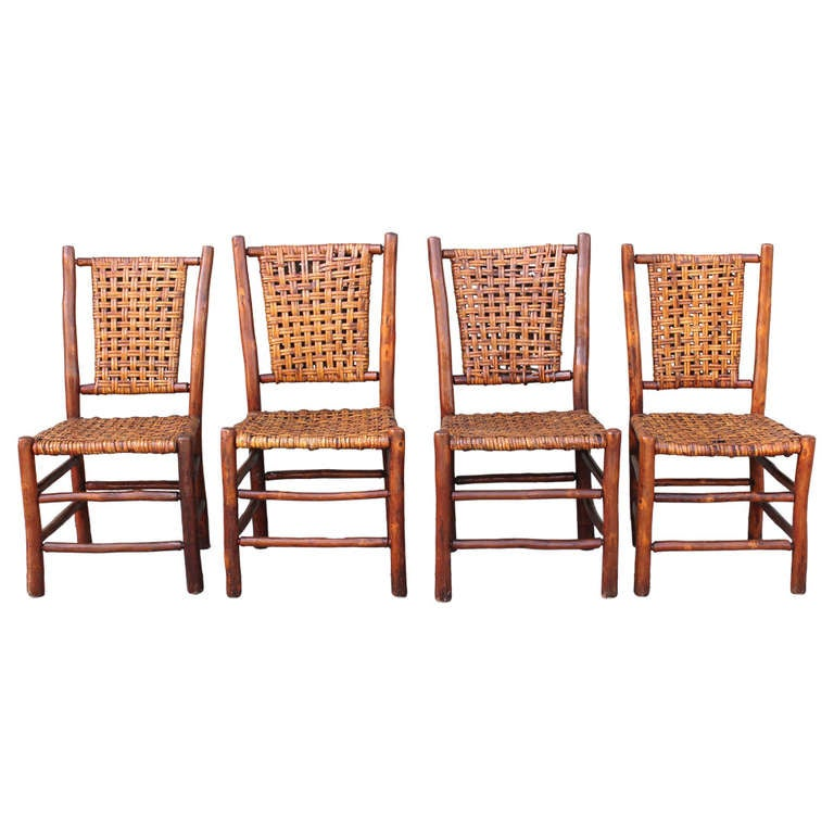 Set Of Four Signed Old Hickory Dining Chairs At 1stdibs