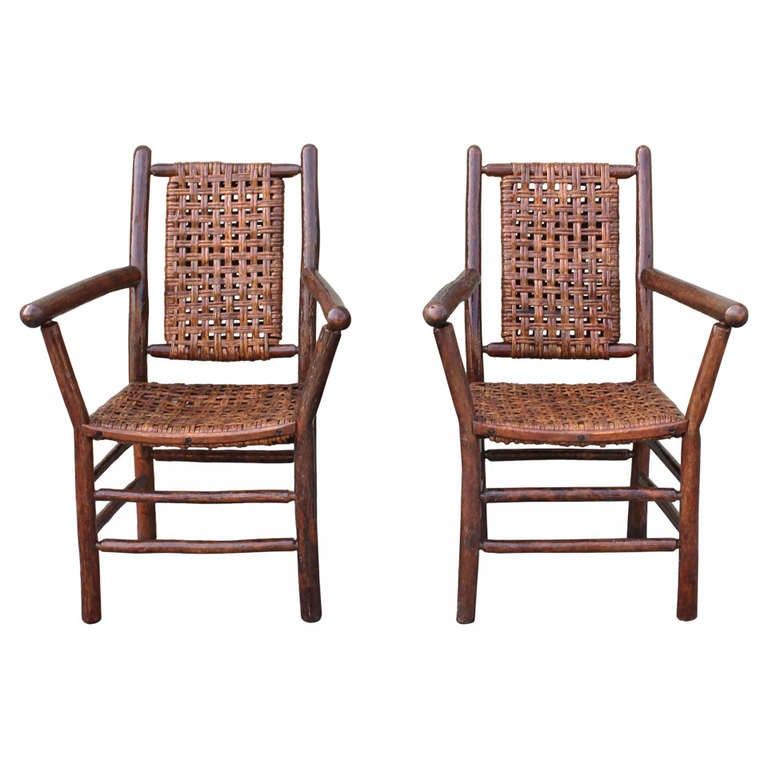 Signed old hickory matching pair of arm chairs at 1stdibs for Matching arm chairs
