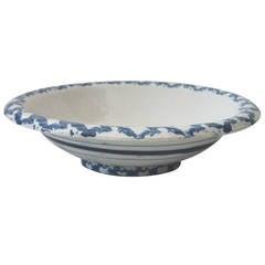 Large 19th Century Spongeware Serving Bowl from Pennsylvania