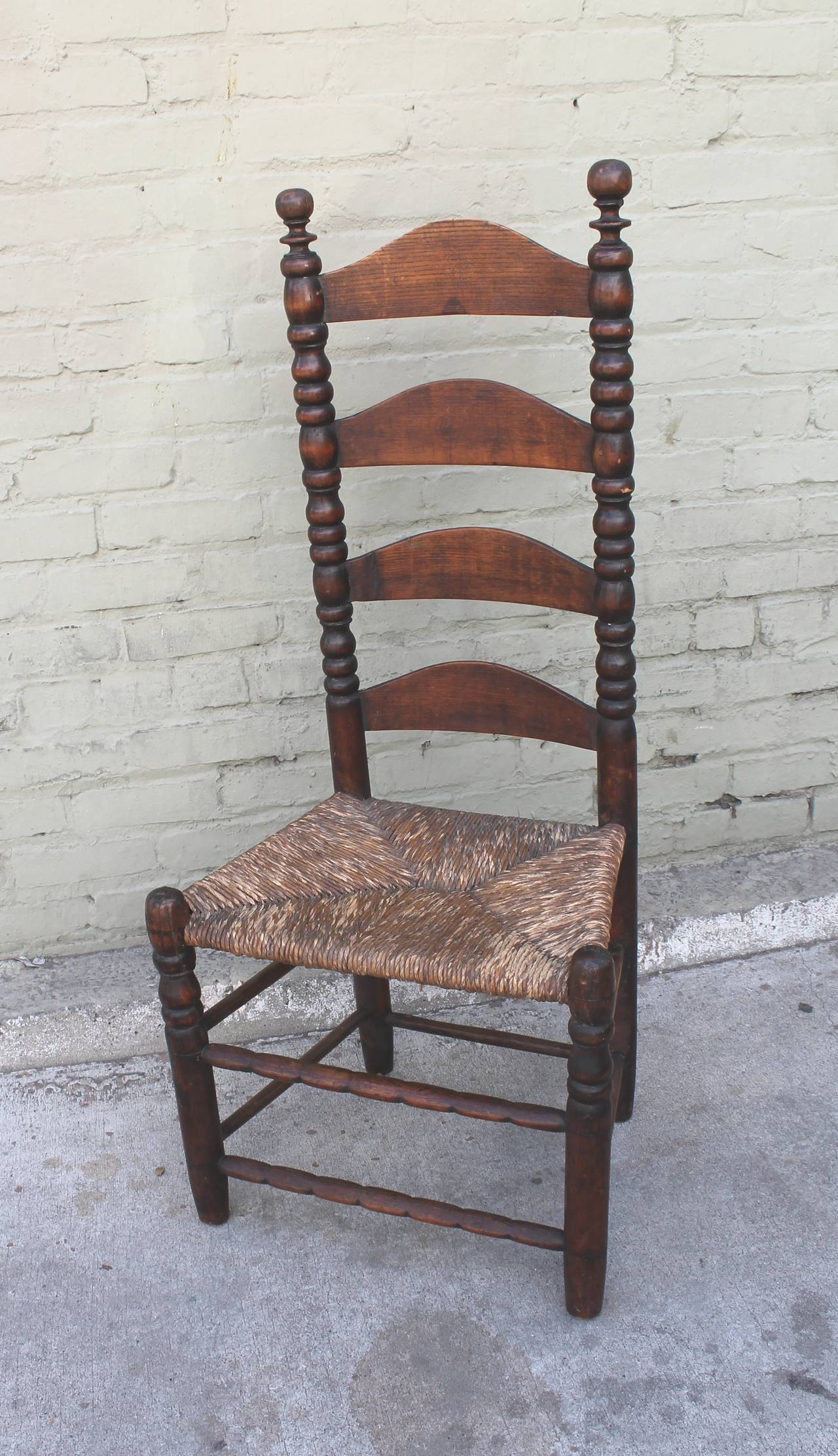 Early 18th Century New England Ladder Back Side Chair For