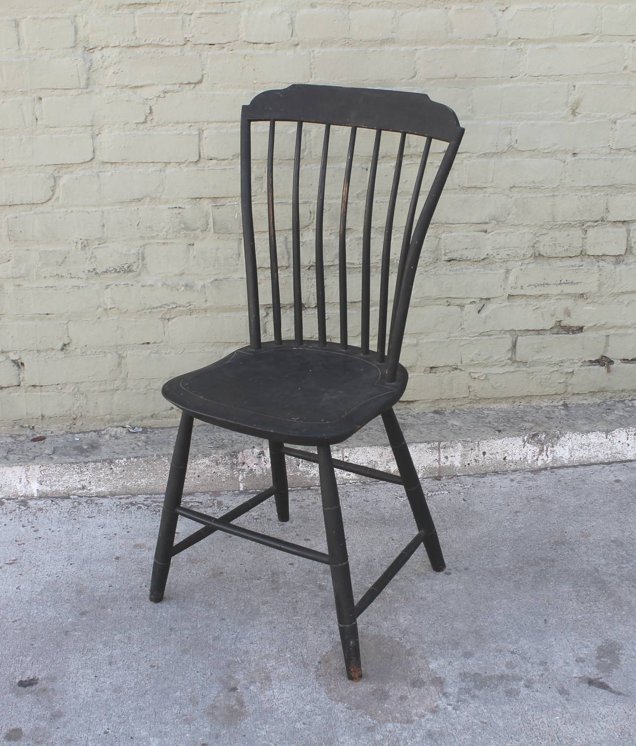 Original Black Painted Step Down New England Windsor Chair Dated