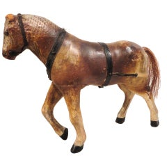19thc Folky Hand Carved Scupture Of a Original  Painted  Horse