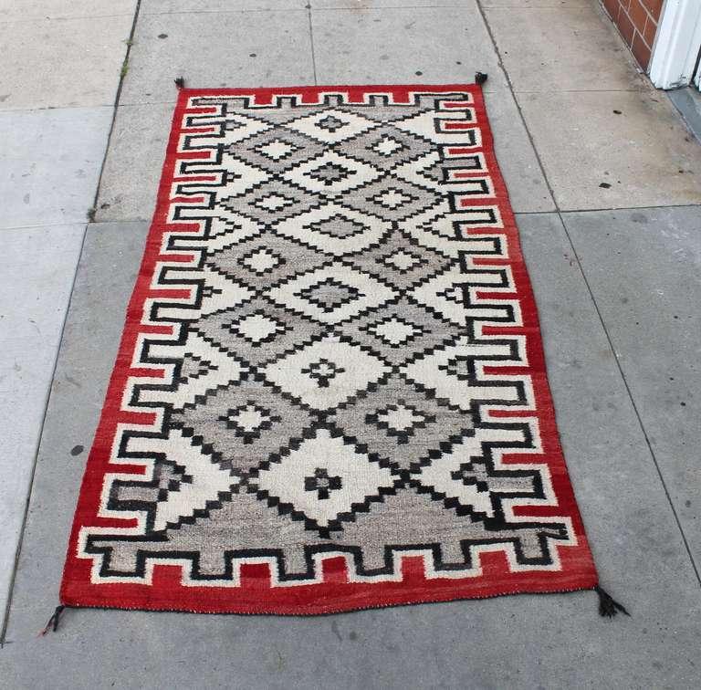 Rare Navajo Indian Weaving Geometric Runner Rug At 1stdibs