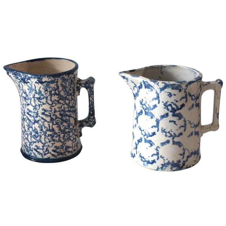 Two Amazing 19th Century Design Sponge Ware Pitchers