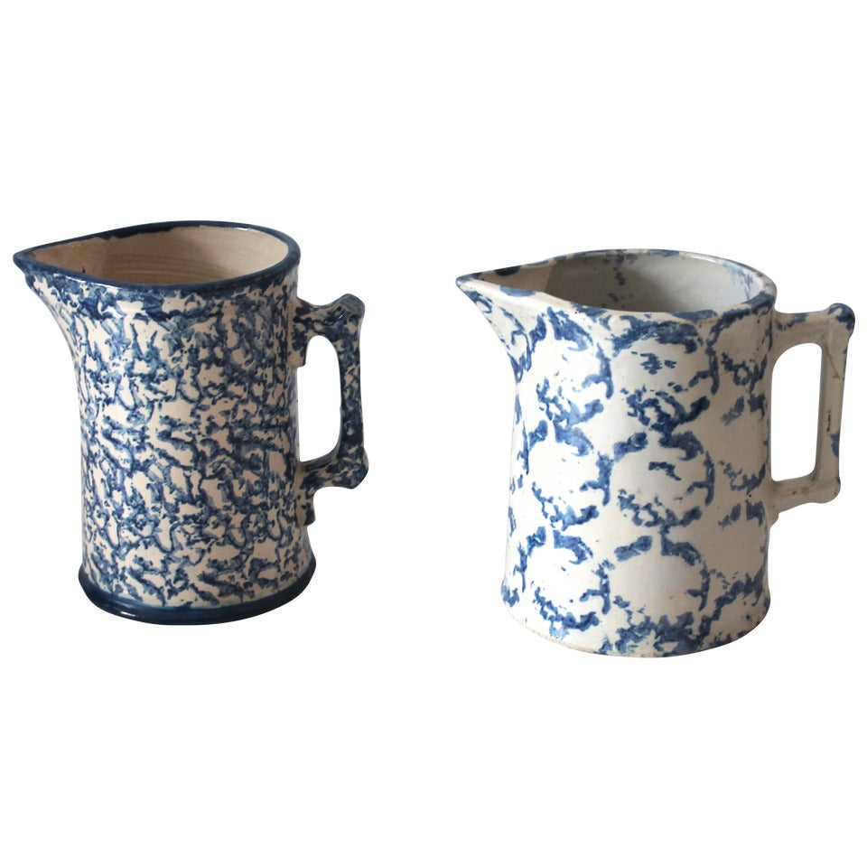 Two Amazing 19th Century Design Sponge Ware Pitchers