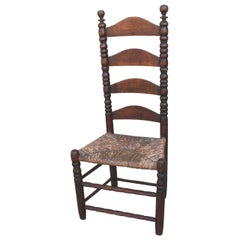 Early 18th Century New England Ladder Back Side Chair