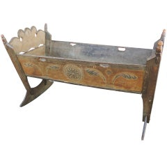 Important & Rare Pennsylvania 18thc Paint Decorated Cradle
