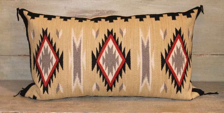 American Geometric Eye Dazzler Navajo Indian Weaving Bolster Pillow For Sale