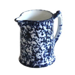 19th Century Spongeware Farmhouse Pitcher