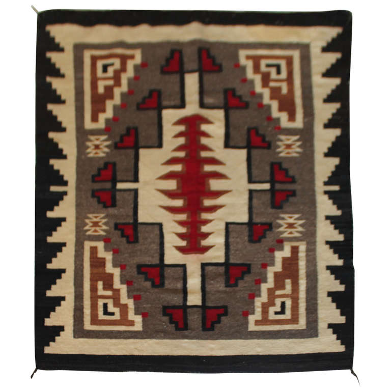 Early navajo indian weaving in vibrant geometric patterns for Native american furniture designs