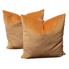Pair of Peach Velvet Pillows With Linen Backing