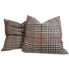 Pair of Houndstooth Plaid Blanket Pillows