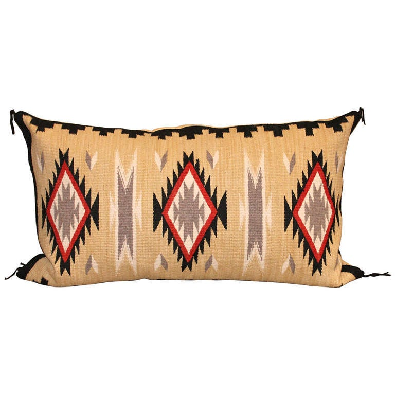 Geometric Eye Dazzler Navajo Indian Weaving Bolster Pillow
