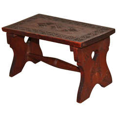 19th Century Hand Carved Walnut Folk Art Stool  with Heart Cut Outs