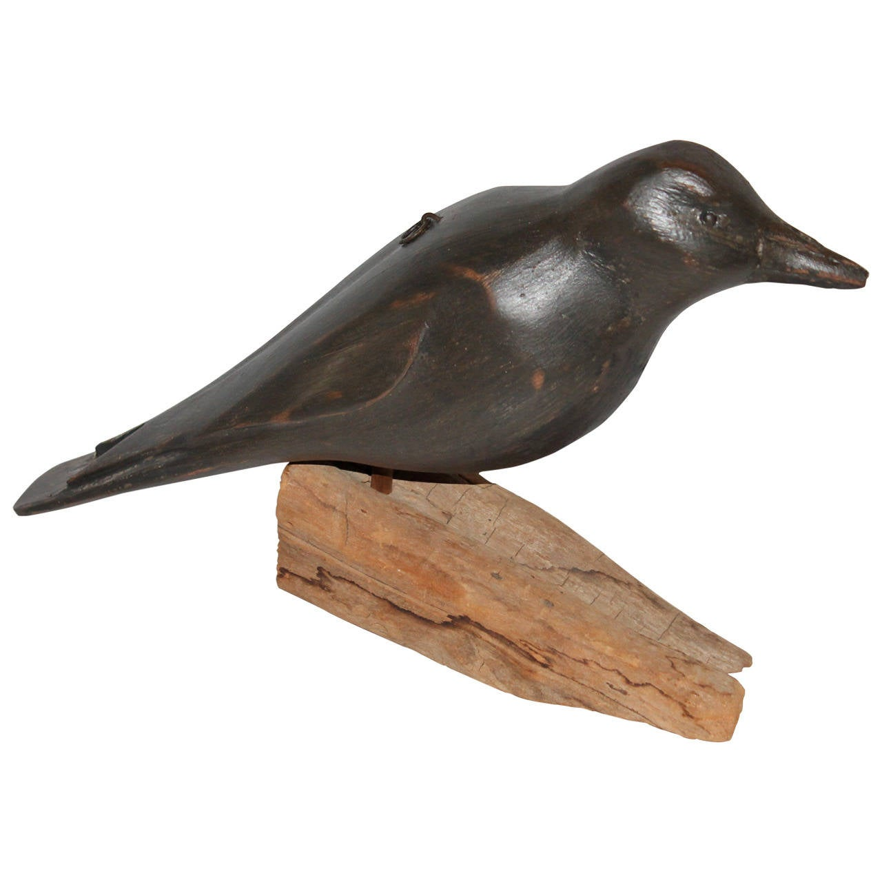 20th Century Folk Art Hand-Carved and Painted Crow on Stand