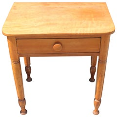19th Century Early Maple End Table from Pennsylvania Farm House